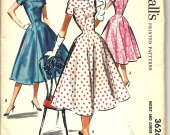 """1950's Vintage McCall's 3626 Party Going Dress and Cap Sewing Pattern (1956)  Size 16 34"""" bust 26"""" waist Uncut & Complete"""
