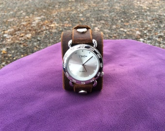 Womens Brown Leather Cuff Watch with buckle