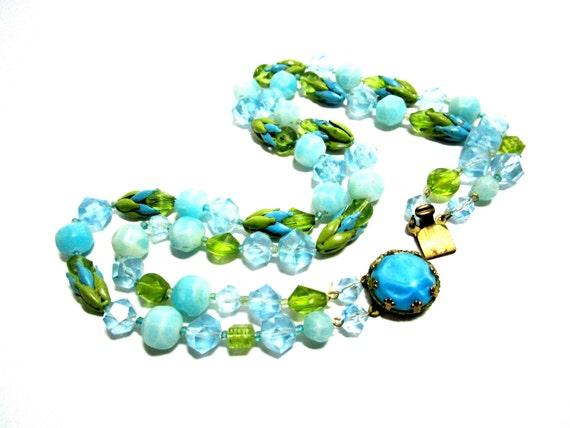 Vintage Necklace, Blue Green Beads, Metal Florals, Aquamarine Blue Necklace, Gold Tone Clasp, Elegant