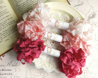 Seam Binding Ribbon / Crinkled Seam Binding / 15 Yards / Shabby Chic / Gift Wrapping / Summer Rose, Rose Petal, Flesh / Seam Binding Bundle