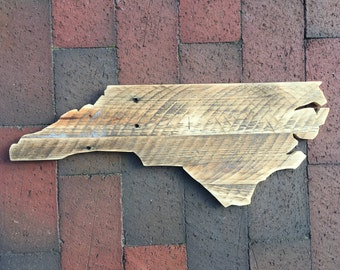 Reclaimed Wood, North Carolina State Outline - Rustic Home Decor, NC Cutout, State Cutout