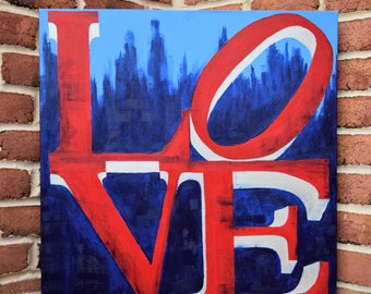 LOVE painting Love Artwork Alternative Guestbook Wedding Engagement Picture Ideas Decoration Props Decor Philadelphia Skyline Red Blue