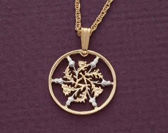 """Great Britian Six Pence Pendant and Necklace, British Six Pence coin Hand Cut, 14 Karat Gols and Rhodium PLated, 3/4 """" in Diameter,( # 129 )"""