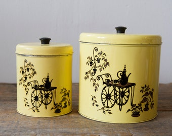 Vintage Yellow Canisters - Set of Two