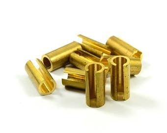 10 Pcs. Raw Brass 7x15 mm Slit Brass Tube Findings