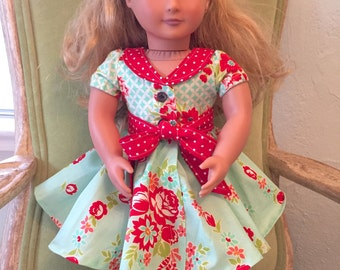 New! Audrey Retro Style DOLL Dress PDF Sewing Pattern American Girl