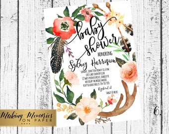 Boho Baby Shower Invitation, Flower Baby Shower Invitation, Bohemian, arrow, Aztec, Bohemian Shower invitation, feathers, Its a girl