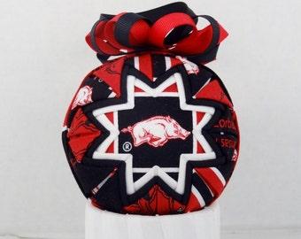 Arkansas Razorback Fabric Ornament Quilted Ornament