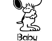 2 - 7 inch baby on board snoopy decals