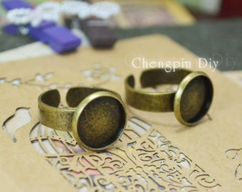 Antiqued Bronze Color Metal Adjustable Ring Base with 12mm,16mm,20mm Edge Pad Cameo Setting
