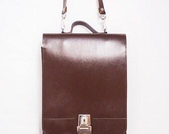 Vintage Leather Messenger Bag  |  Brown Leather Messenger Bag  |  School Bag  |  College Bag  |  Shoulder Bag in Brown Leather |