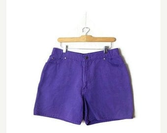 Purple Denim Shorts