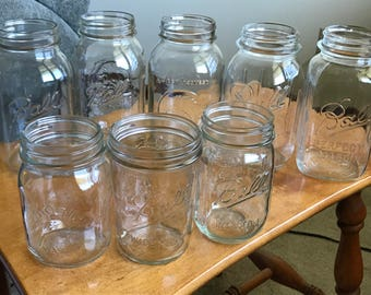 Mixed Lot of 9 Mason Jars, Clean, Ball Perfect Mason, Golden Harvest, Magic Mason, Quarts, Pints, Wide & Small Mouth