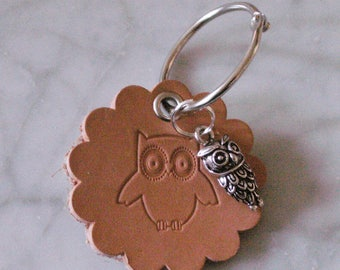 """Keychain leather """"OWL"""", crafted from leather"""