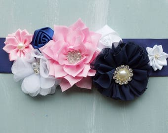 Maternity sash, navy, pink, and white maternity photo prop. Bridal Sash