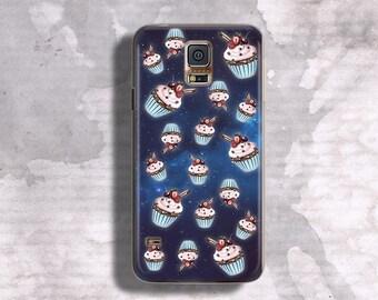 Cupcakes case for Galaxy S5 Space cakes case for Samsung Galaxy S5 Kawaii case for Galaxy S5 Art by Ieva Ekmane dark blue case S7 TPU case