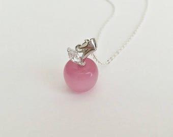 Pink Apple Necklace. Cat's Eye Gemstone Apple Necklace. 3D Pink Apple Pendant Necklace. Teacher's Gift. Teacher Appreciation Gift.