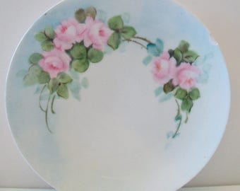 Vintage J C G.M.B.Co Dayton Bavaria Plate Pink Roses Shabby Chic French Country Dish Home Decor