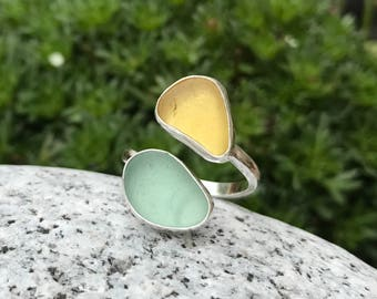 Handmade Sterling silver and sea glass ring - UK size O US size 7.5