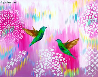 """pink painting, pink paintings, painting for, pink room, pink and white, art, with hummingbirds, hummingbird gift, hummingbird gifts, 36""""x24"""""""