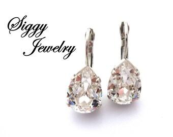 Swarovski Crystal Pear Shaped Earrings, Clear Crystal Teardrops, Rhodium Silver Finish, Lever-Back Drops, Bridal Jewelry, FREE SHIPPING
