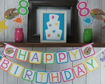 Art Party Happy Birthday Banner - Girl's Birthday Banner - Art Party Banner