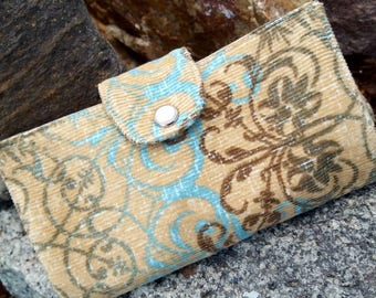 Corduroy Checkbook Cover, Fabric Coupon  Wallet