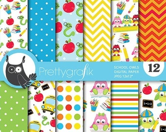 80% OFF SALE School owls digital paper, commercial use, scrapbook papers, background chevron, stripes - PS744