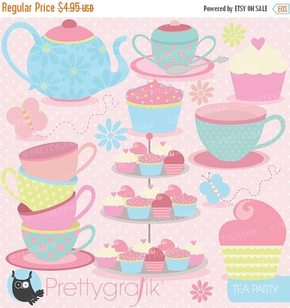 80% OFF SALE tea party clipart commercial use, vector graphics, digital clip art, digital images  - CL512