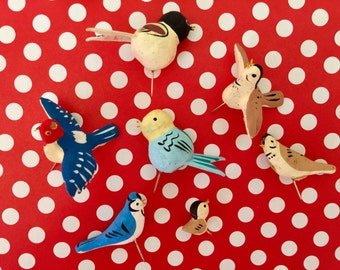 Vintage Paper Mache Bird Pick Ornaments Japan