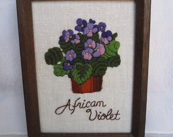 African Violet Plant Crewel Embroidery in Wood Frame