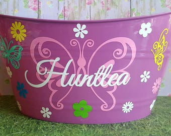 Personalized Basket, Sand Bucket with Butterflies
