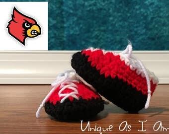Crochet Baby Booties - Louisville Cardinals Colors