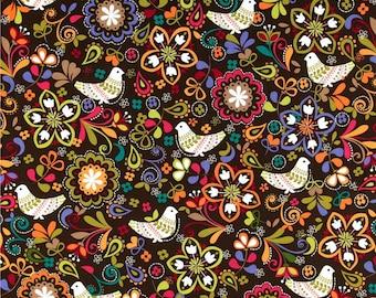 Birds of Norway Espresso - One Yard - Michael Miller Fabric