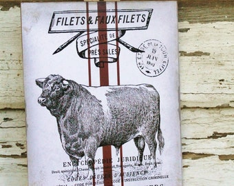 Vintage COW Sign Farmhouse Decor Grainsack RED French Page BULL Wall Art Wood Print
