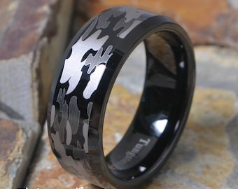 Tungsten Carbide 8mm Black Camouflage Camo Gray White Comfnort Fit Mens Womens Hunters Personalized Wedding Band - Promise Ring AZ30