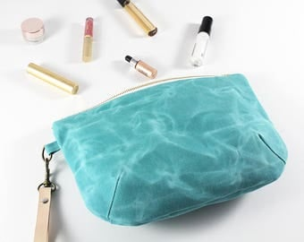 Waxed Canvas Bag, Every Day Purse, Bridesmaid Clutch, Clutch, Gifts for Her, Toiletry Bag, Zipper Pouch, Clutch Purse, Clutch