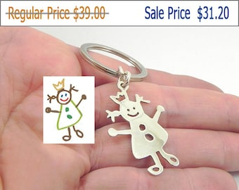 20% OFF - Kids drawing silver key chain, actual child drawing keychain, kids art keychain, mother's gift, family gift, fathers gift