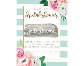 Watercolor Floral & Striped Bridal Shower Invitation, 5x7, Printable