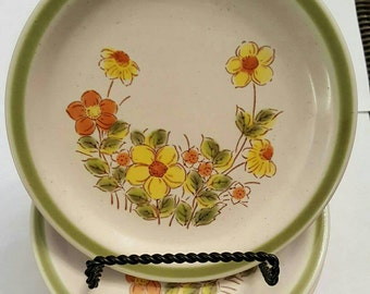 Bread and Butter Plate Spring Garland in the Spring Collection Stoneware  Oven to Table to Dishwasher 1970's Yellow Orange Flowers