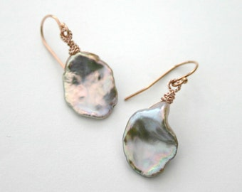 KESHI PEARL EARRINGS...Lavender Keshi Pearl With Rose Gold,Drop Earrings