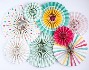 Hooray Party Fans | Paper Fans | My Mind's Eye Paper Goods | Dots and Stripes Paper Fans | Bright Colored Paper Fans | Polka Dot Party Fans