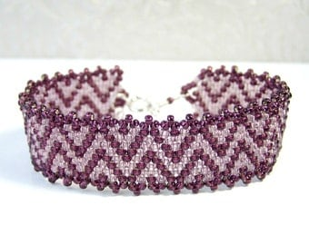 Purple Pink Bracelet Glass Bead Bracelet Woven Jewelry, Everyday Bracelet, Seed Bead Jewelry Sterling Silver, Chevron Bracelet Gift For Her