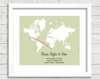 8x10 Love World Map - California, USA - Cape Town, South Africa - Long Distance Relationship - Personalize - Wedding or Anniversary Gift