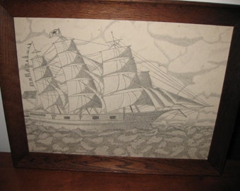 "VINTAGE CLIPPER SHIP Pencil Drawing Ship With Flags On Mast Signed Dolly To Louis Oak Frame 18 1/2"" x 14 1/2"""