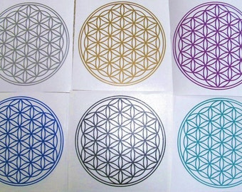 BUY 2 GET 1 FREE Various Colours Vinyl Flower of Life