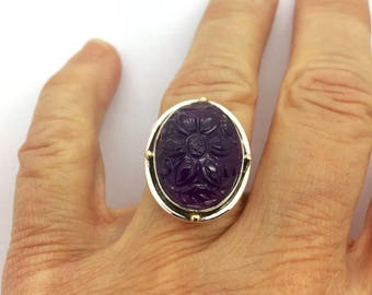 Carved Amethyst Ring, Amethyst Silver Ring, Amethyst Jewelry, Amethyst Statement Ring, Purple Stone Ring