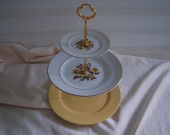 SUNFLOWER GOLD Tea Stand, 3 Tiered Vintage fine China,Cake Stand/appetizer tray, FALL Wedding, Fall Table Decor,Thanksgiving Table(P327)