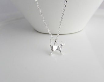 Origami Cat Necklace, Cat Necklace, Cat Lover Necklace, Animal Lover Necklace, British Seller UK, Girl Gift, BFF Gifts, Cat Jewelry