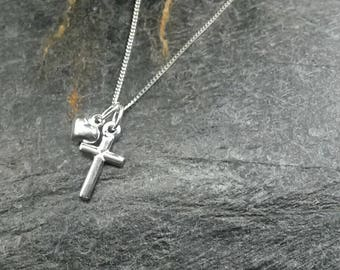 Sterling Silver Cross Love Charm Necklace/Charm Necklace/Silver Cross/Silver Charm/Silver Necklace/Religious Jewellery/Cross Jewelry/Faith